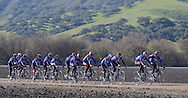The United States Postal Service Cycling team rolls along on a flat stretch of road near the town of Solvang, CA,  during a training session Friday, January 23, 2004.  Leading is Lance Armstrong, right, and George Hincapie, left.  The team, led by five-time Tour de France winner, Lance Armstrong is preparing for the upcoming European racing season and Armstrong's attempt to be the only six-time winner of the Tour de France.