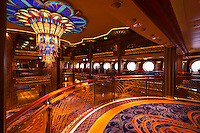 The art deco lobby atrium on the new Disney Dream cruise ship sailing between Florida and the Bahamas.