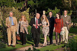 Downton Abbey cast enjoying The Haven's annual fundraising garden party at the Chelsea Physic Garden hoping to raise over £40,00 to help support people with breast cancer...(left to right) David Robb, Lesley Nicol, Julian Fellows, Joanna Froggatt, Brendan Coyle, Sophie McShera and Kevin Doyle...Photo credit: Tolga Akmen