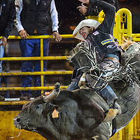 070415       Cable Hoover<br /> <br /> Bull rider Rocky McDonald holds on tight during the PRCA Rodeo in Window Rock Saturday.