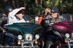 Riding by the Cabbage Patch during Daytona Bike Week. New Smyrna Beach, FL. USA. Wednesday March 15, 2017. Photography ©2017 Michael Lichter.