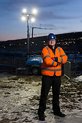 Thursday 14th December 2017, Aberdeen Scotland. Ecolite TH200 LED Lighting Tower helping to light up the construction site at the new Aberdeen Exhibition and Conference Centre.<br /> <br /> Pictured:  Gareth Holden, Depot Manager, Taylors,<br /> <br /> <br /> <br /> <br /> (Photo: Ross Johnston/Newsline Media)