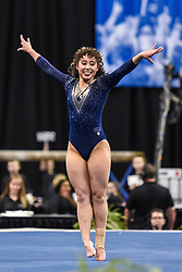 April 21, 2018 - St. Louis, Missouri, U.S - KATELYN OHASHI of UCLA performs her floor exercise in the championship round of the NCAA gymnastics championship at The Chaifetz Arena in St. Louis. (Credit Image: © Richard Ulreich/ZUMA Wire)