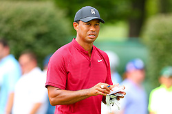 August 26, 2018 - Paramus, NJ, U.S. - PARAMUS, NJ - AUGUST 26:  Tiger Woods of the United States walks after he plays his shot from the 17th tee  during the final round of The Northern Trust on August 26, 2018 at the Ridgewood Championship Course in Ridgewood, New Jersey. (Photo by Rich Graessle/Icon Sportswire) (Credit Image: © Rich Graessle/Icon SMI via ZUMA Press)