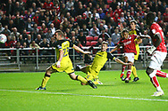 Bristol City midfielder Bobby Reid (14) scores a goal but it is ruled out by the referee during the EFL Sky Bet Championship match between Bristol City and Burton Albion at Ashton Gate, Bristol, England on 13 October 2017. Photo by John Potts.