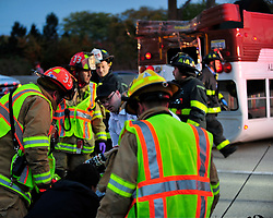 Emergency personnel work to free students trapped in a Lehigh University school bus on  October 27th, 2015, on Route 22 in Bethlehem, Pa. (Chris Post   lehighvalleylive.com)