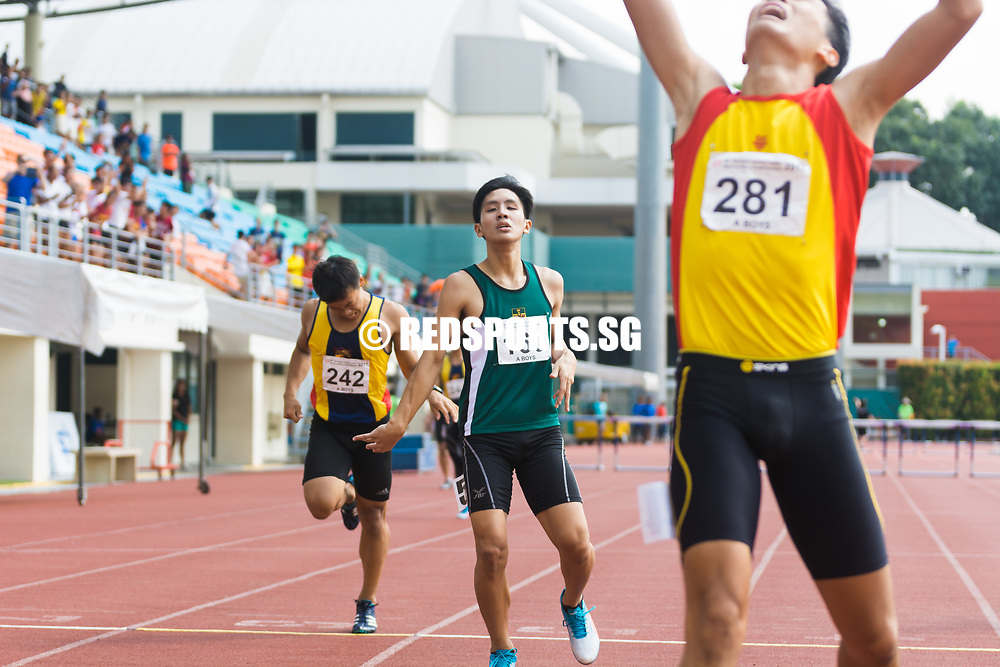 Isaac Toh Beam (#160) of Raffles Institution finishes the race second with a timing of 58.81 seconds, followed by Loh Yuan Yee (#242) of Anglo-Chinese Junior College with a timing of 59.32. (Photo © Jerald Ang/Red Sports)