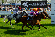 Wahash ridden by Sean Levey and trained by Richard Hannon, Petrus ridden by Martin Dwyer and trained by Brian Meehan, Salute the Soldier ridden by Adam Kirby and trained by Clive Cox  - Ryan Hiscott/JMP - 19/04/2019 - PR - Bath Racecourse- Bath, England - Race 4 - Good Friday Race Meeting at Bath Racecourse