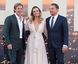 Once Upon a Time in Hollywood Premiere. 22 Jul 2019 Pictured: Brad Pitt, Margot Robbie and Leonardo DiCaprio. Photo credit: MEGA TheMegaAgency.com +1 888 505 6342