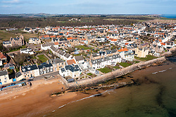 Aerial view of village of Elie on the East Neuk of Fife, in Scotland, UK