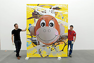 UK. London. New works by artist Jeff Koons go on show in London. Photograph shows his 'Hulk Elvis' work being hung in the Gagosian Gallery in Britannia Street.