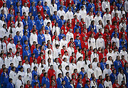A children's choir sings during closing ceremonies at the Winter Olympics in Sochi, Russia, Sunday, Feb. 23, 2014. (Brian Cassella/Chicago Tribune/MCT) ORG XMIT: 1149546