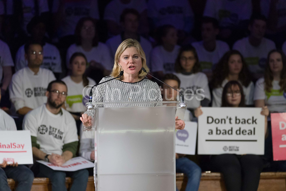Justine Greening MP at a pro-remain rally that rejects the Prime Ministers Brexit deal and demands a Peoples Vote second referendum, held on November 14, 2018 in London, England. The anti-Brexit groups Best for Britain and The Peoples Vote Campaign joint rally calls on Members of Parliament MPs to vote against the Prime Minister, Theresa Mays final Brexit deal.