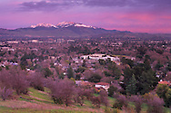 Winter sunset light over Snow Capped Mount Diablo and Pleasant Hill, California