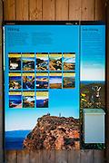 Interpretive sign at Scorpion Ranch, Santa Cruz Island, Channel Islands National Park, California USA