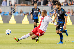 June 13, 2018 - San Jose, CA, U.S. - SAN JOSE, CA - JUNE 13: New England Revolution Forward Teal Bunbury (10) gets ahead of the defense during the MLS game between the New England Revolution and the San Jose Earthquakes on June 13, 2018, at Avaya Stadium in San Jose, CA. The game ended in a 2-2 tie. (Photo by Bob Kupbens/Icon Sportswire) (Credit Image: © Bob Kupbens/Icon SMI via ZUMA Press)