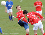 Sean Mullen Mannions nearly kicks team mate Tom Malley in the head in Westpark in Galway Photo:Andrew Downes