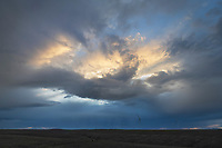 Storm over wind Turbines on Columbia Plateau near Wasco Oregon.