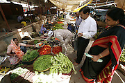 Jayant and Sangeeta Patkar shop for fresh vegetables at the Ujjain municipal market for their family food portrait. (Supporting image from the project Hungry Planet: What the World Eats.) The Patkar family of Ujjain, Madhya Pradesh, India, is one of the thirty families featured, with a weeks' worth of food, in the book Hungry Planet: What the World Eats.