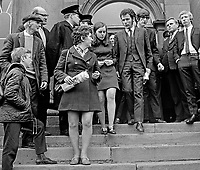 Bernadette Devlin, MP, centre, leaves the Courthouse, Omagh, Co Tyrone, N Ireland, UK, after being fined £20 and given a three months suspended sentence as a result of disturbances at a local council meeting. Nell McCafferty and Eamonn McCann, both from Derry, were similarly sentenced. 197005180173d.<br />