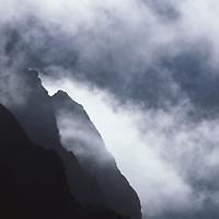 NEPAL, Himalaya. Fog and Himalayan foothills in canyon of Dudh Kosi River.
