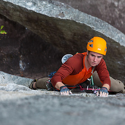 Rory O'Donnell climbing Blazing Saddles 5.10b in Squamish BC.