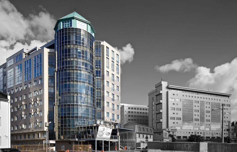 Black and white/colour postproduction of business centre. Project by Borodkin architects in Kyiv, Ukraine. Daylight with sunny sky.