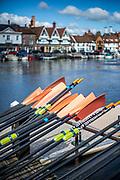 Henley-On-Thames, Berkshire, UK., Wednesday,  19/05/2021,  Oars, Blade Resting, Leander Club[ Mandatory Credit © Peter Spurrier/Intersport Images],