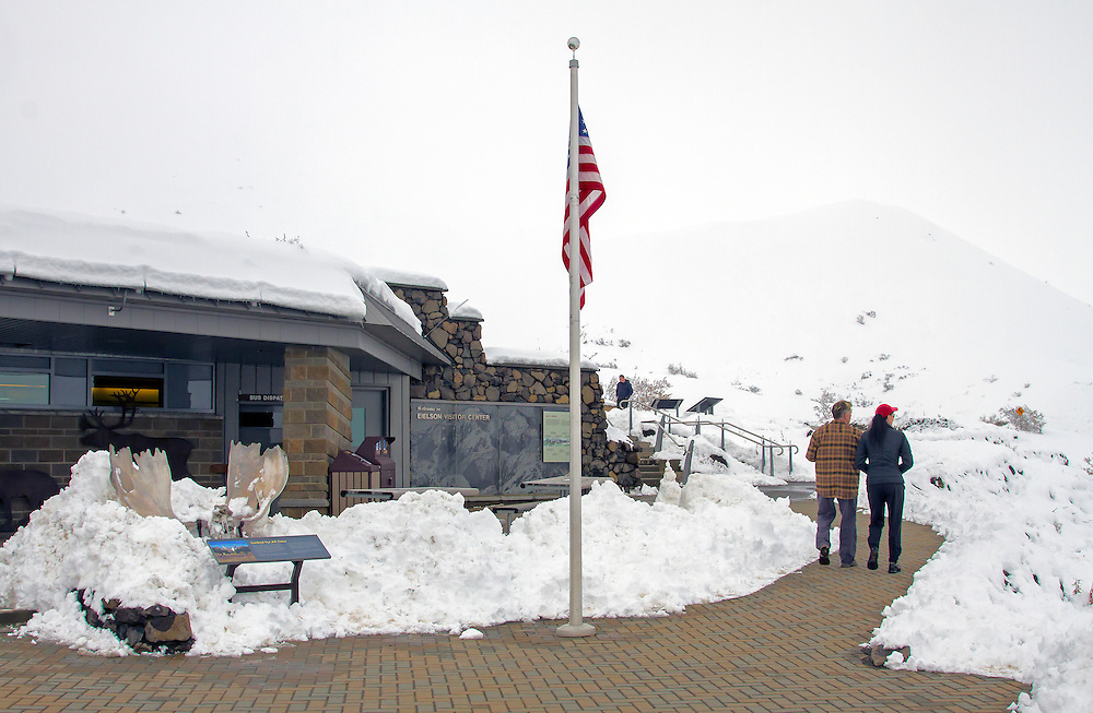 Alaska: Eielson Visitor Center with early September snow during the road lottery, Denali National Park.