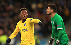 Chelsea's Callum Hudson-Odoi celebrates scoring his side's fifth goal of the game