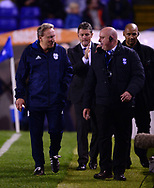 Neil Warnock, the manager of Cardiff  city (l) .EFL Skybet championship match, Birmingham city v Cardiff city at St.Andrew's stadium in Birmingham, the Midlands on Friday 13th October 2017.<br /> pic by Bradley Collyer, Andrew Orchard sports photography.