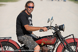Doug Wothke on his antique Indian at the AMCA Sunshine Chapter Swap Meet during Daytona Beach Bike Week. FL. USA. Saturday March 11, 2017. Photography ©2017 Michael Lichter.