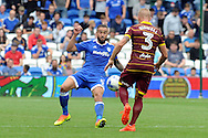 Cardiff City's Jazz Richards (l) challenges QPR's Jake Bidwell. EFL Skybet championship match, Cardiff city v Queens Park Rangers at the Cardiff city stadium in Cardiff, South Wales on Sunday 14th August 2016.<br /> pic by Carl Robertson, Andrew Orchard sports photography.