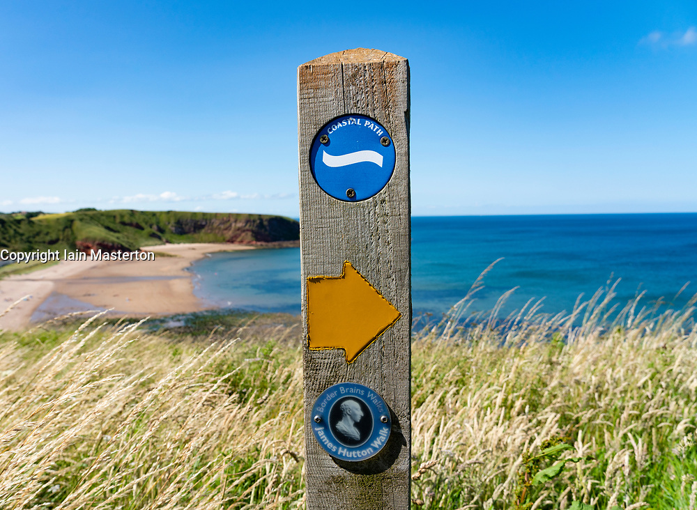 Marker or James Hutton Walk on Coastal Path at Pease Bay in Berwickshire, Scotland, UK