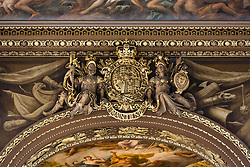 © Licensed to London News Pictures. 25/09/2016. LONDON, UK.  A gold plaque at the Painted Hall. The 300 year old Painted Hall by James Thornhill at the Old Royal Naval College closes today for two years. Major restoration work to remove layers of dirt to the fine dining room will be undertaken in the main hall, ceiling and dome. The project has been awarded a £3.1m Heritage Lottery grant.  Photo credit: Vickie Flores/LNP