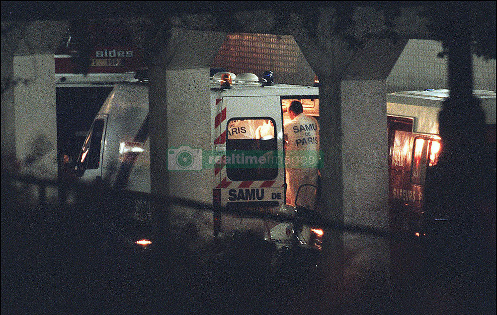 File photo taken on August 31, 1997 - Princess Diana who was still alive after her terrible car crash who occured under Alma bridge's tunnel receives an emergency treatment into a medical unit which had to stop several times on the way to the hospital due to the very bad condition of Princess Diana, nevertheless she died few instants later. Princess Diana died on August 31 1997 after suffering fatal injures in a car crash in the Pont de l'Alma road tunnel in Paris. Her companion Dodi Fayed and driver and security guard Henri Paul were also killed in the crash. Photo by ABACAPRESS.COM