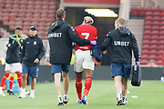Adama Traoré of Middlesbrough leaves the pitch after sustaining a shoulder injury during the Pre-Season Friendly match between Middlesbrough and Sunderland at the Riverside Stadium, Middlesbrough, England on 27 July 2018. Picture by Paul Thompson.