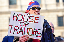 © Licensed to London News Pictures. 29/03/2019. LONDON, UK.  Pro-Leave supporters attend a rally in Parliament Square on the day that the UK was due to leave the European Union. MPs have just voted against supporting Prime Minister Theresa May's Withdrawal Agreement for a third time.  Photo credit: Stephen Chung/LNP