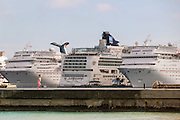 Cruise ships lined up at Prince George Wharf, Nassau, Bahamas, Caribbean