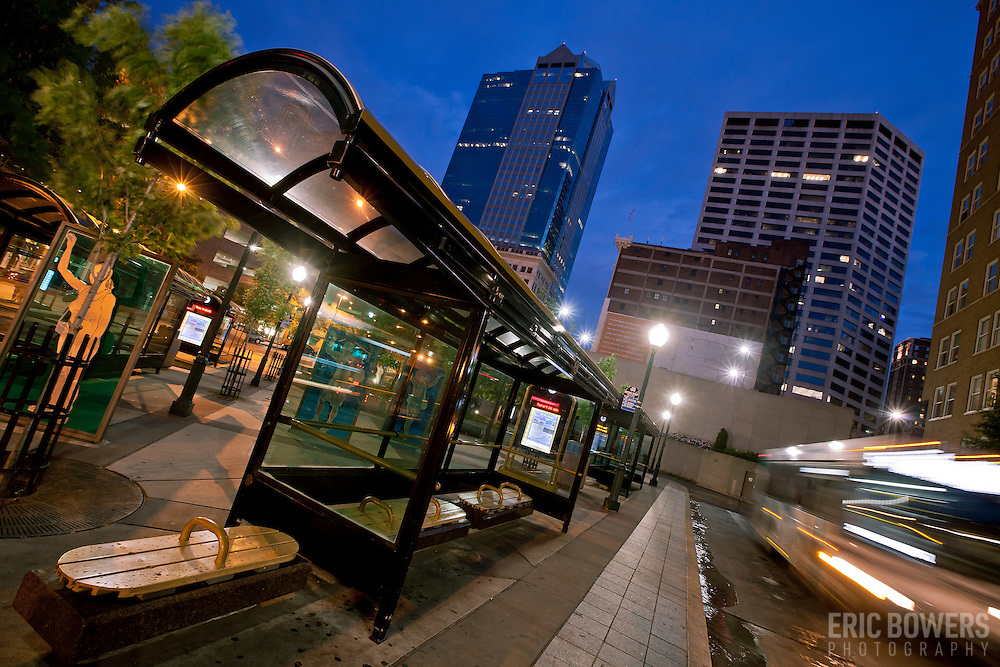 Bus in motion at 10th and Main Transit Center in downtown Kansas City, Missouri.