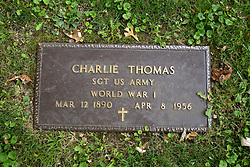 26 August 2017:   A part of the History of McLean County Illinois.<br /> <br /> Tombstones in Evergreen Memorial Cemetery.  Civic leaders, soldiers, and other prominent people are featured.<br /> <br /> Section 16 - Veterans Section<br /> Charlie Thomas<br /> Sergeant US Army<br /> March 12 1890<br /> April 8 1956