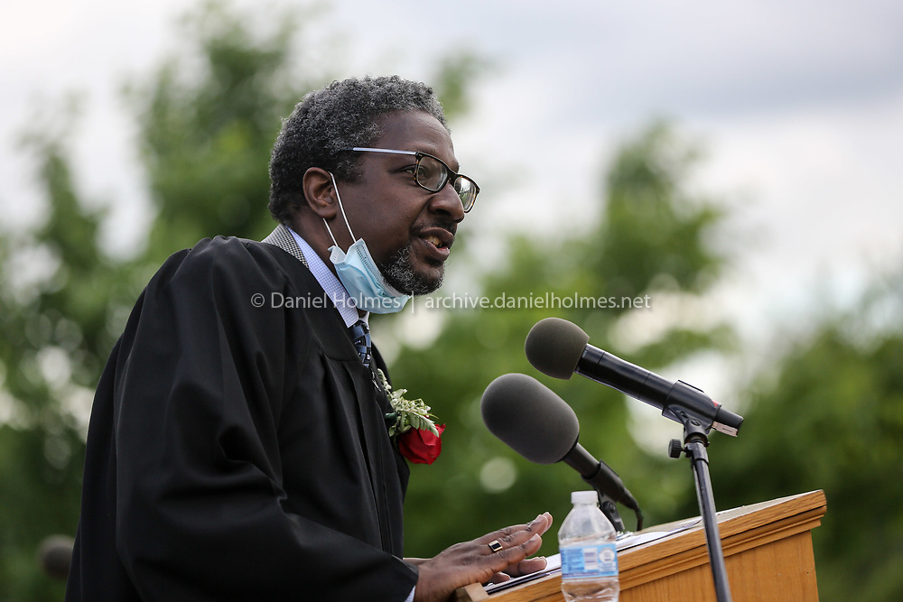 (6/7/20, WESTON, MA) Principal Anthony Parker addresses graduates during graduation at Weston High School on Sunday. [Daily News and Wicked Local Photo/Dan Holmes]