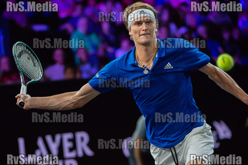 GENEVA, SWITZERLAND - SEPTEMBER 22: Alexander Zverev of Team Europe plays a forehand during Day 3 of the Laver Cup 2019 at Palexpo on September 20, 2019 in Geneva, Switzerland. The Laver Cup will see six players from the rest of the World competing against their counterparts from Europe. Team World is captained by John McEnroe and Team Europe is captained by Bjorn Borg. The tournament runs from September 20-22. (Photo by Robert Hradil/RvS.Media)