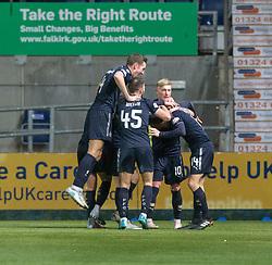 Falkirk's Louis Longridge (14) celebrates after scoring their fifth goal. Falkirk 6 v 1 Dundee United, Scottish Championship game played 6/1/2018 played at The Falkirk Stadium.