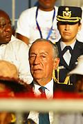 Marcelo Rebelo de Sousa durante o desfile de Carnaval de Luanda, que decorreu na Nova Marginal em Luanda. O Presidente português efectua uma visita de estado a Angola de 5 a 9 de Março