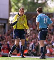 Fotball, 6. oktober 2002.Arsenal v Sunderland.  Thomas Myhre, (Sunderland, og Kevin Kilbane, Sunderland.<br />Foto:Andrew Cowie, Digitalsport.