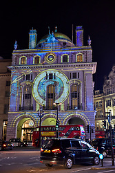 """© Licensed to London News Pictures. 17/01/2018. LONDON, UK.  """"Voyage"""" by Camille Gross and Leslie Epzstein is projected onto the Hotel Cafe Royal on Regent Street.  Preview of Lumiere London, the capital's largest arts festival commissioned by The Mayor of London and produced by Artichoke.  Light installations by leading artists have been set up, both north and south of the river for the public to view 18-21 January.   Photo credit: Stephen Chung/LNP"""