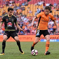 BRISBANE, AUSTRALIA - APRIL 16: Brett Holman of the Roar in action during the round 27 Hyundai A-League match between the Brisbane Roar and Wellington Phoenix at Suncorp Stadium on April 16, 2017 in Brisbane, Australia. (Photo by Patrick Kearney/Brisbane Roar)