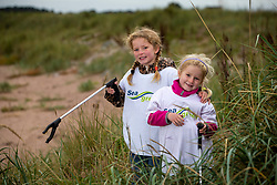 Alva (5) and Ida (3) Royle taking part as SSE Renewables do a the beach clean in Carnoustie on Saturday morning.