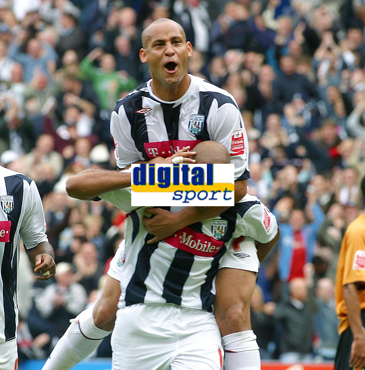 Photo: Dave Linney.<br />West Bromwich Albion v Wolverhampton Wanderers. Coca Cola Championship. 22/10/2006 West Brom's Diomansy Kamara (Front) celebrates with  Nigel Quashie after making it 2-0 to Albion.